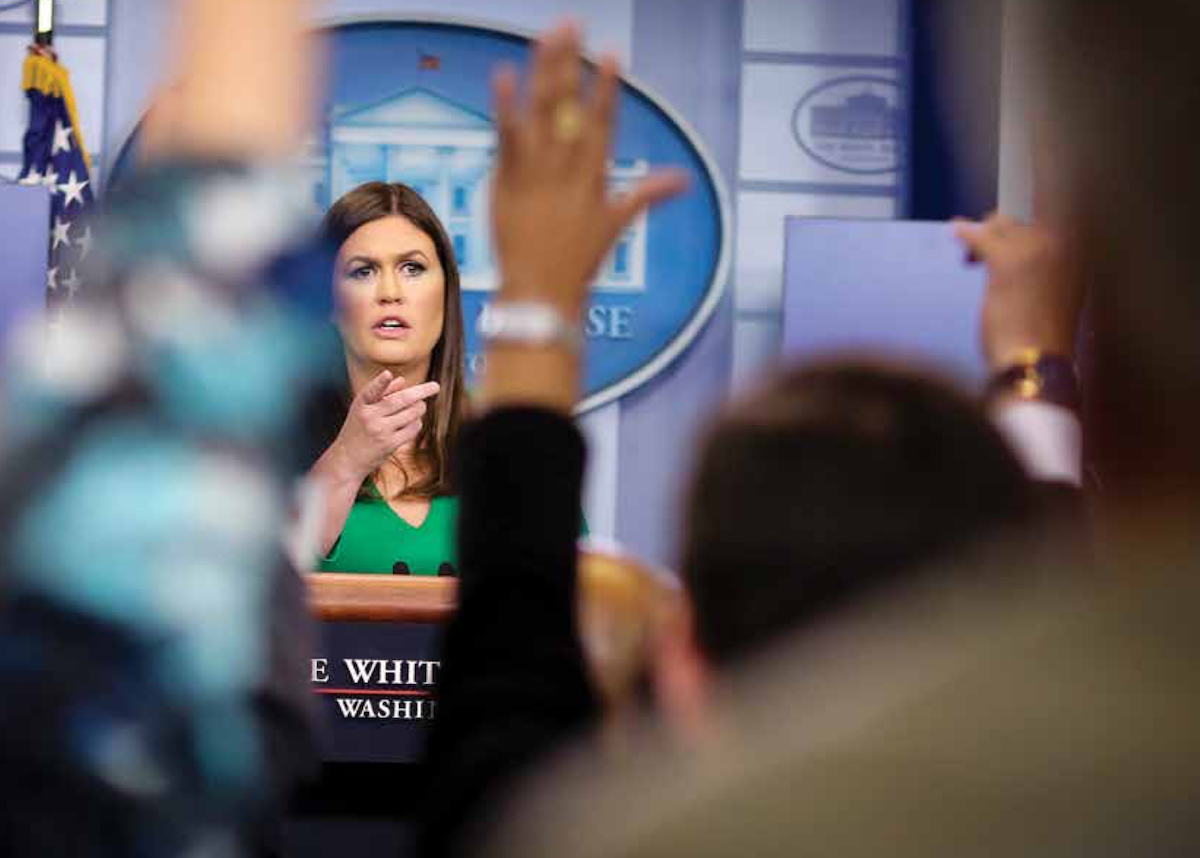 White House press secretary Sarah Huckabee Sanders speaks during the daily press briefing at the White House in Washington, D.C., on July 27. (Oliver Contreras / Sipa USA via AP Images)